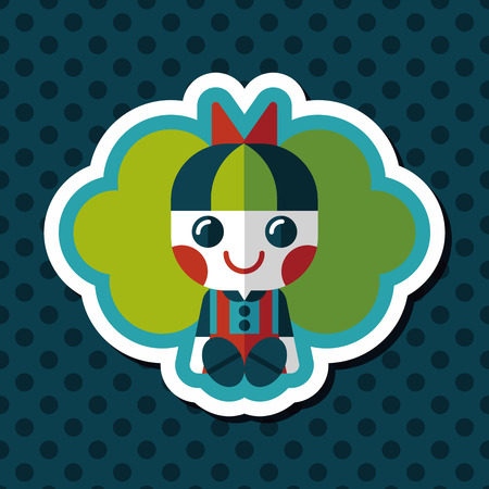 fille poup�e: girl doll toy flat icon with long shadow,eps 10