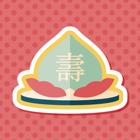 immortality: Chinese New Year peaches of immortality flat icon with long shadow,eps10, Peaches of immortality is a kind of bread and it means who ate the peach can live forever.
