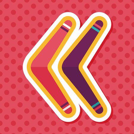 wooden boomerang: boomerang flat icon with long shadow