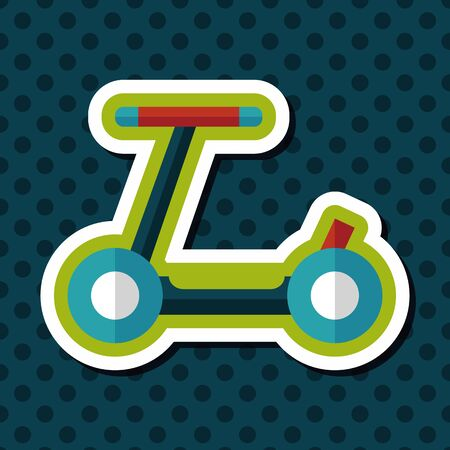time drive: scooter flat icon with long shadow