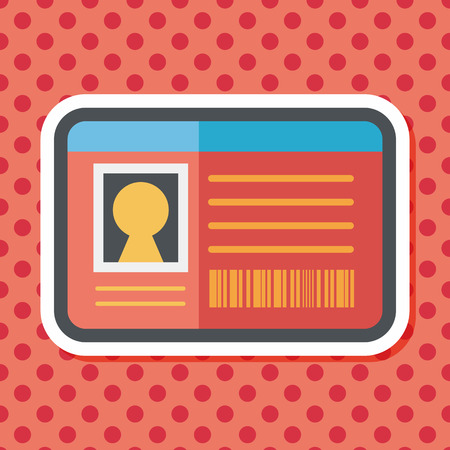 guests website: Identification card flat icon with long shadow