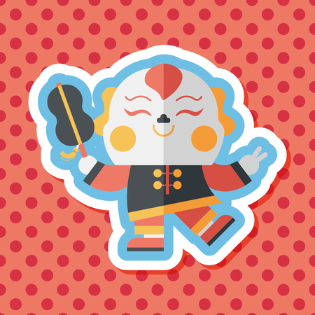 by popularity: Chinese New Year flat icon with long shadow,eps10, Maitreya doll decoration means Bless you have wealth, monasticism and popularity.