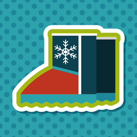 cragsman: winter boot flat icon with long shadow,eps10 Illustration