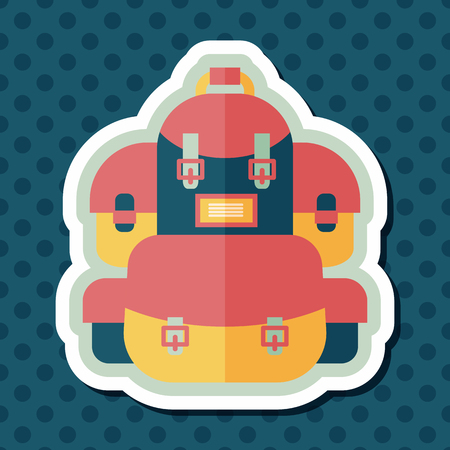 back pack: backpack flat icon with long shadow