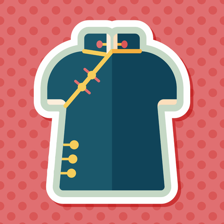 chipao: Chinese Cheongsam flat icon with long shadow,eps10