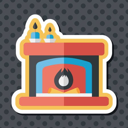 warmth: Christmas fireplace flat icon with long shadow,eps10