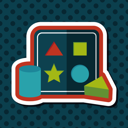 baby playing toy: educational toy flat icon with long shadow Illustration