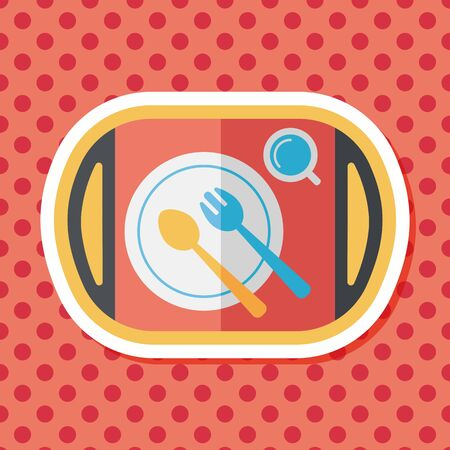ware: dish ware and cutlery flat icon with long shadow