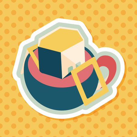 bagged: coffee bag flat icon with long shadow,eps10 Illustration