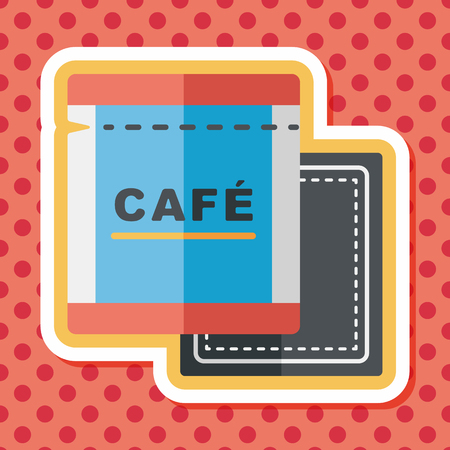 koffiebaal: coffee bag flat icon with long shadow,eps10 Stock Illustratie