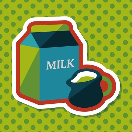 vacas lecheras: milk package flat icon with long shadow,eps10