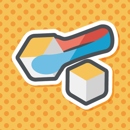 sugary: Sugar cubes flat icon with long shadow,eps10