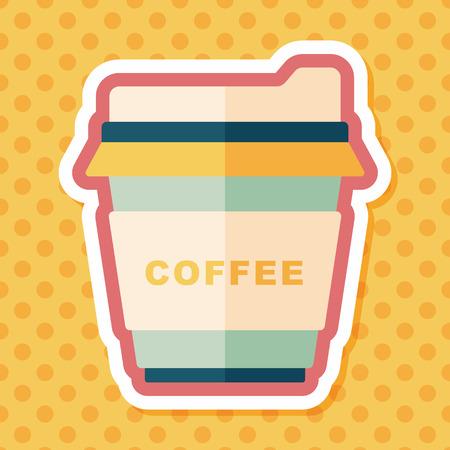 takeaway: takeaway coffee flat icon with long shadow,eps10 Illustration