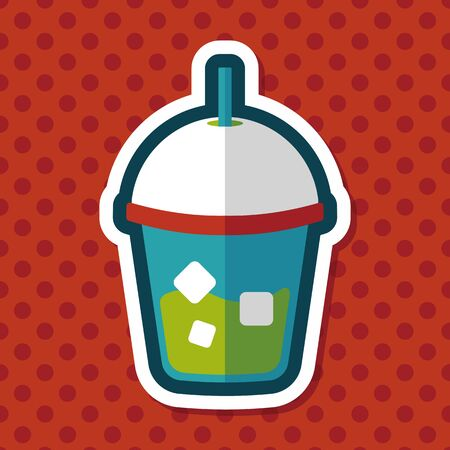 fresh juice: iced drink flat icon with long shadow,eps10 Illustration