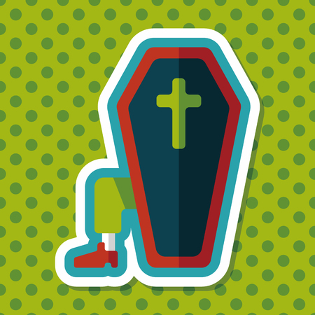 buried: coffin falt icon with long shadow,eps10