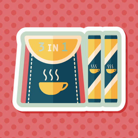 instant coffee: 3 in 1 coffee flat icon with long shadow,eps10