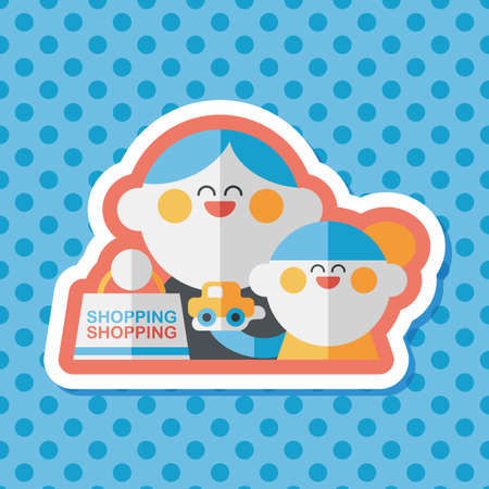 shoppers: Parents and child shopping flat icon with long shadow,eps10