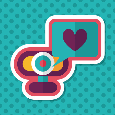 making a face: Valentines Day webcame love message flat icon with long shadow,eps10 Illustration