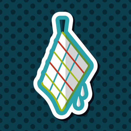 dirty house: kitchenware rag flat icon with long shadow,eps10
