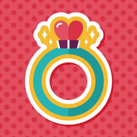 valuables: Valentines Day heart diamond ring flat icon with long shadow,eps10 Illustration