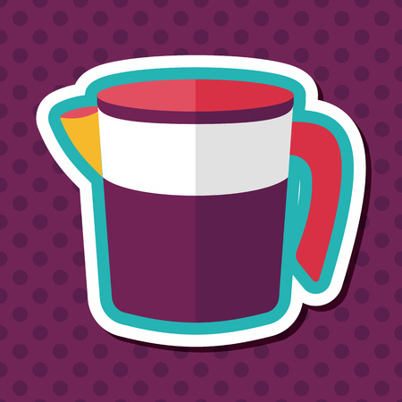 measuring cup: kitchenware measuring cup flat icon with long shadow  Illustration