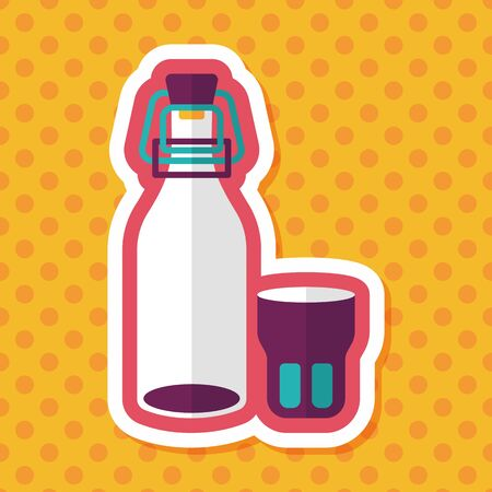 long drink: kitchenware preserving drink flat icon with long shadow