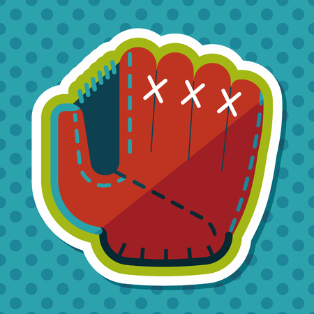 pincher: baseball glove flat icon with long shadow,