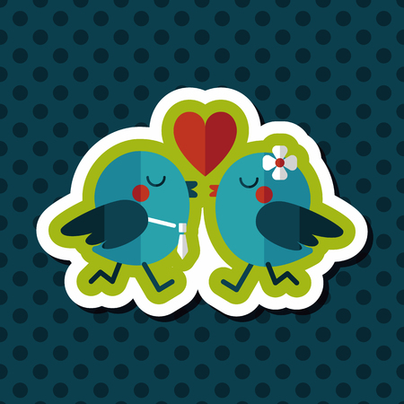 lover: Valentines Day lover bird flat icon with long shadow,