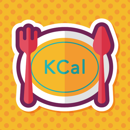 calories: calories diet flat icon with long shadow,eps10