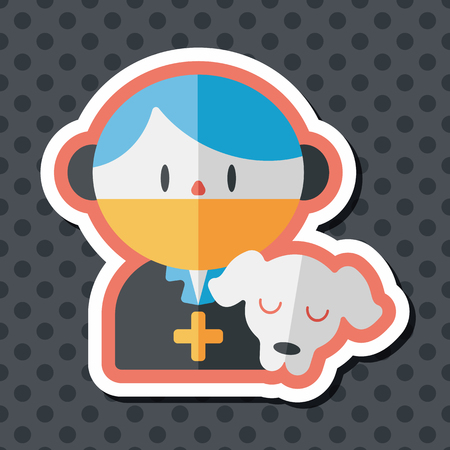 doggie: Pet vet and dog flat icon with long shadow,eps10 Illustration