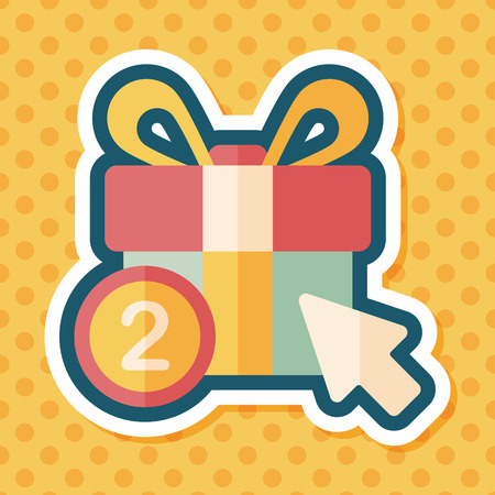 gift bow: shopping present flat icon with long shadow,eps10 Illustration
