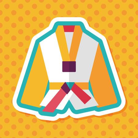 kata: Karate suit flat icon with long shadow,eps10
