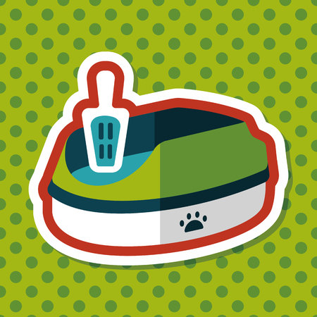 filler: Pet cat litter box flat icon with long shadow, eps10 Vectores