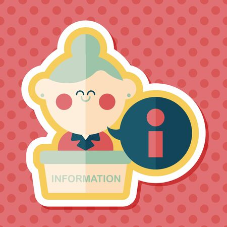 inform information: information counter flat icon with long shadow,eps10 Illustration
