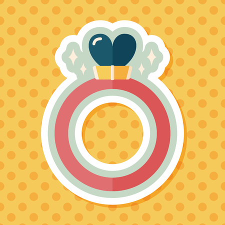 heart diamond: Valentines Day heart diamond ring flat icon with long shadow