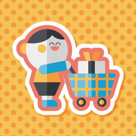 happy shopper: shopping flat icon with long shadow,eps10 Illustration