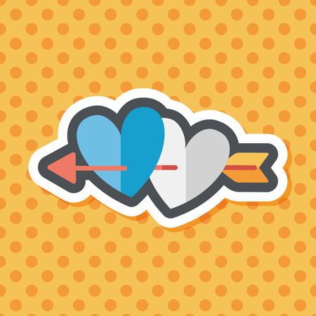 love at first sight: valentines day heart bow and arrow flat icon with long shadow,eps10