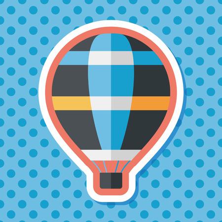 hot air: Transportation hot air ballon flat icon with long shadow,eps10