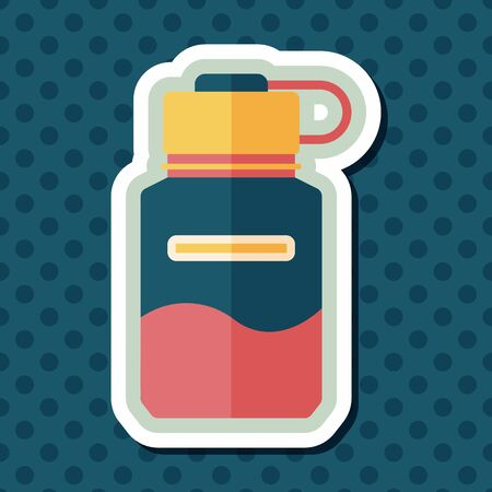 reusable: Water bottle flat icon with long shadow,eps10