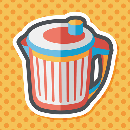 dispose: kitchenware garbage can flat icon with long shadow,eps10