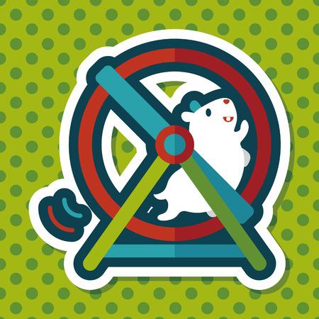 Pet Maus Laufrad flach Symbol mit langen Schatten, eps10