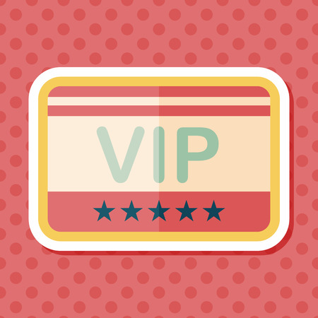 celebrities: shopping vip card flat icon with long shadow,eps10 Illustration