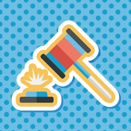 auction hammer flat icon with long shadow,eps10 Illustration