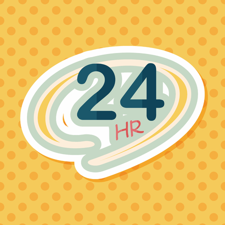 operation for: 24 hours shop open flat icon with long shadow,eps10