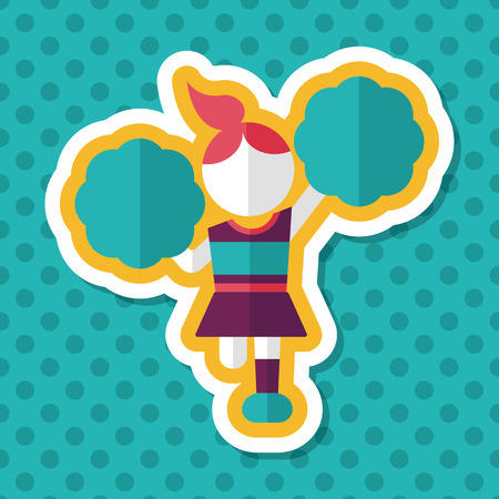 flexible woman: cheerleader flat icon with long shadow,eps10 Illustration