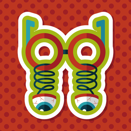 joke glasses: Halloween toy flat icon with long shadow,eps10