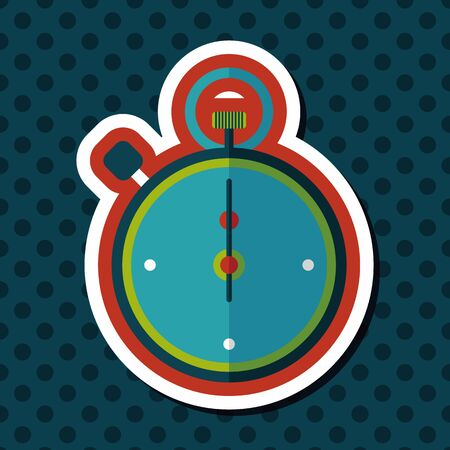 success control: stopwatch flat icon with long shadow,eps10