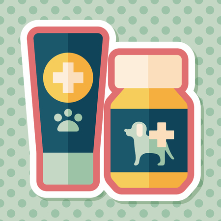 drug test: Pet drug flat icon with long shadow,eps10 Illustration