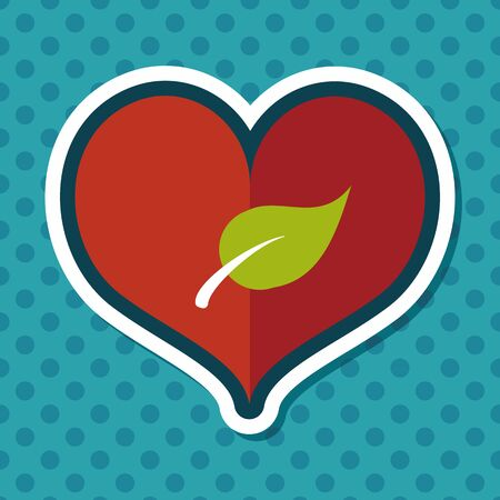 sincerely: Environmental protection concept flat icon with long shadow,eps10; Sincerely protect our environment; heart concept