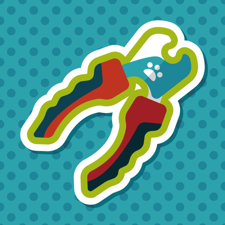 cat grooming: Pet nail clippers flat icon with long shadow, eps10 Illustration
